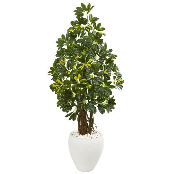 Nearly Natural Indoor 53-In. Schefflera Artificial Tree in White Planter 9330