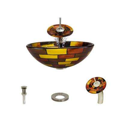 Glass Vessel Sink in Stained Glass with Waterfall Faucet and Pop-Up Drain in Brushed Nickel