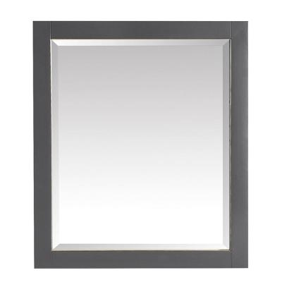 Allie 28 in. x 32 in. Framed Wall Mirror in Twilight Gray with Matte Gold Trim