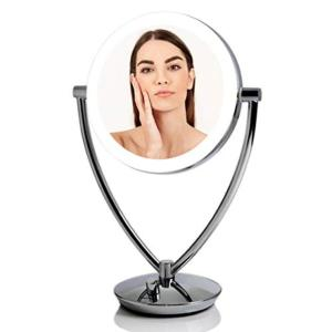 5.25 in. W x 14.3 in. H Framed LED Lighted Tabletop Bathroom Vanity Mirror with Acrylic Edge and 1x 10x Magnifications