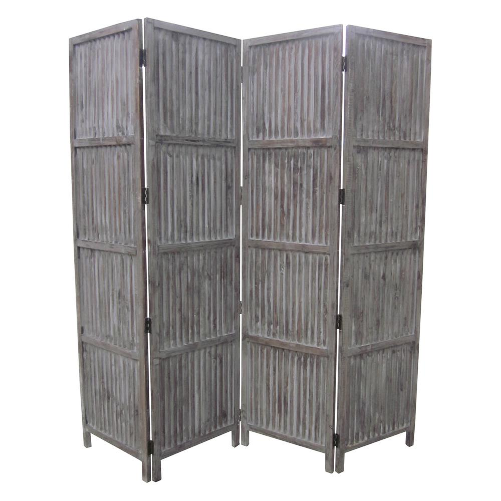 Patina Screen Sg 155a 7 Ft Gray 4 Panel Room Divider