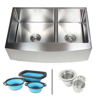 Farmhouse Apron 16-Gauge Stainless Steel 33 in. Curve Front 60/40 Offset Double Bowl Kitchen Sink w Silicone Colanders