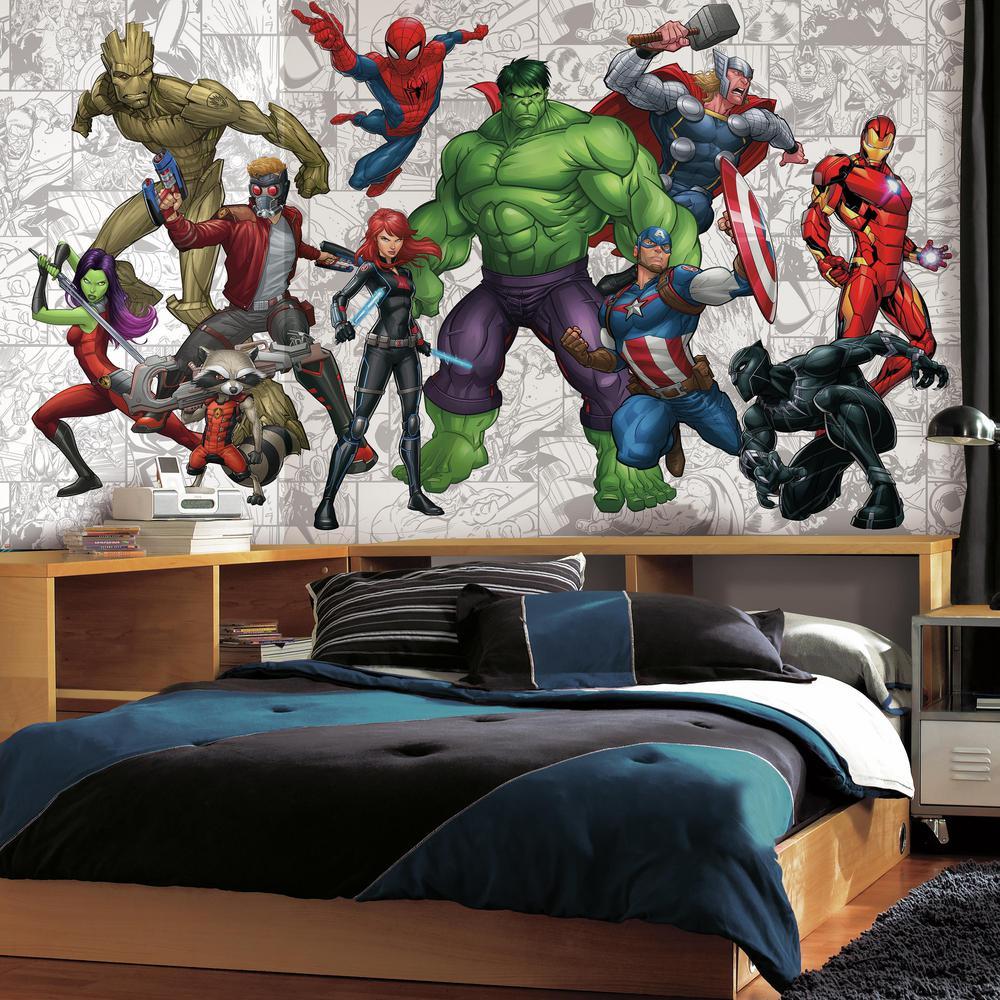 72 in. x 126 in. Marvel Hero XL Chair Rail 7-Panel Prepasted Mural