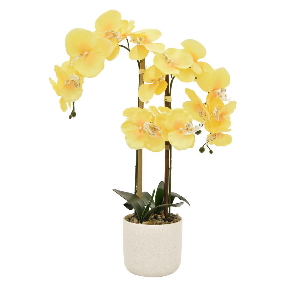 Faux Orchid Flower Pot in Yellow-11042 - The Home Depot