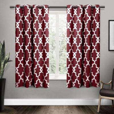 Ironwork 52 in. W x 63 in. L Woven Blackout Grommet Top Curtain Panel in Burgundy (2 Panels)