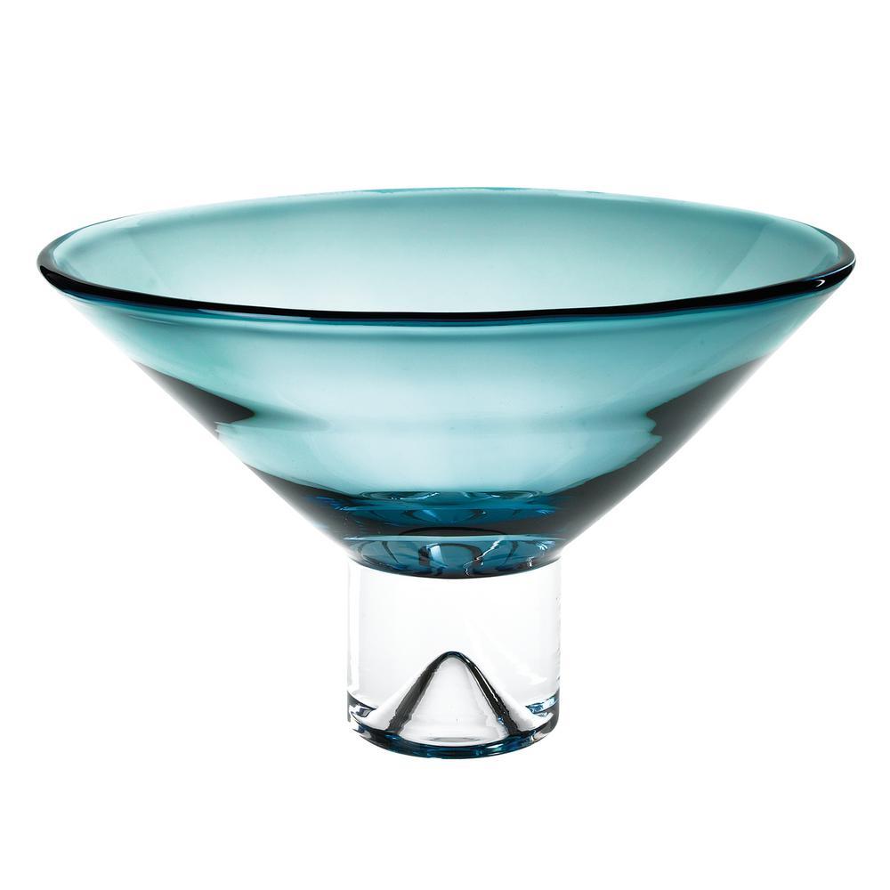 12 in. Monaco Peacock Blue European Mouth Blown Crystal Pedestal Bowl