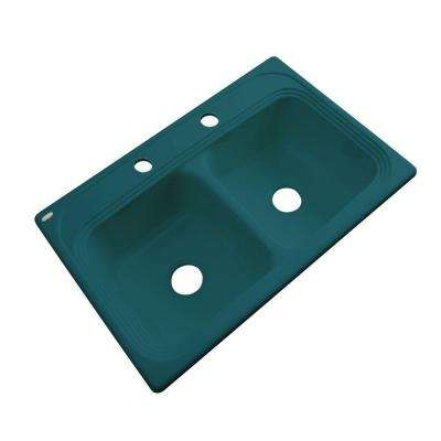 Chesapeake Drop-In Acrylic 33 in. 2-Hole Double Bowl Kitchen Sink in Teal