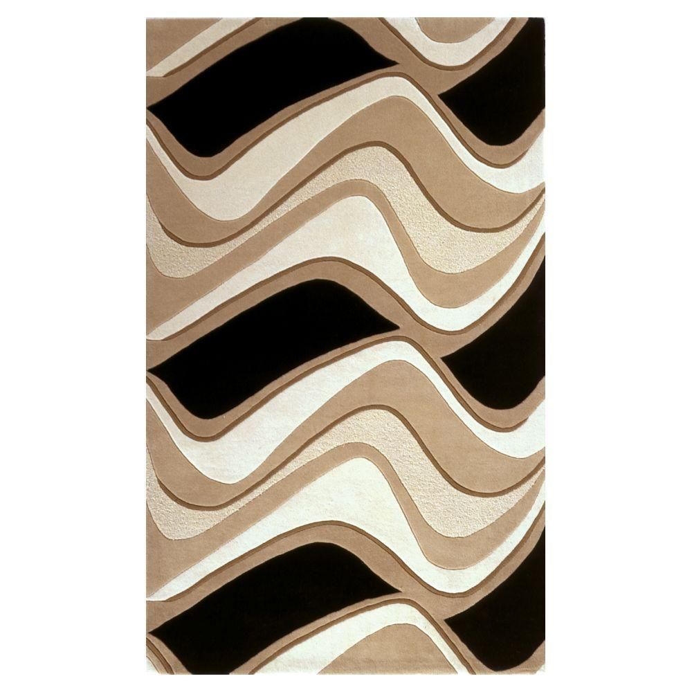 Abstract Waves Black/Beige 2 ft. 3 in. x 3 ft. 9