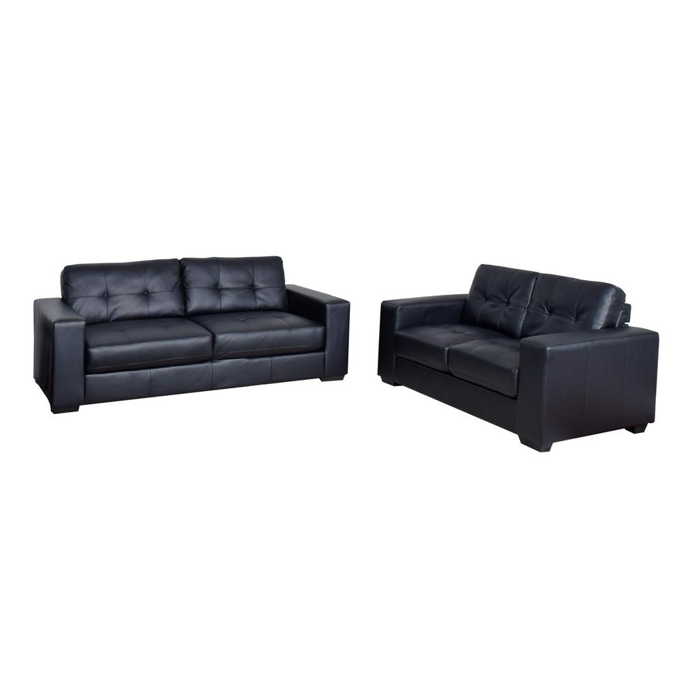 Corliving Club 2 Piece Tufted Black Bonded Leather Sofa Set