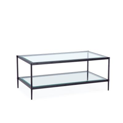 17.72 in. Black Rectangular Coffee Table with Glass Table Top and Storage Shelf
