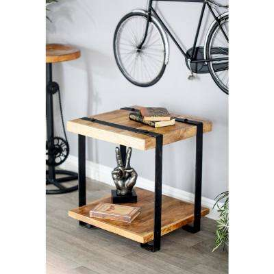 Stained Brown Mango Wood and Iron Side Table with Black Frames