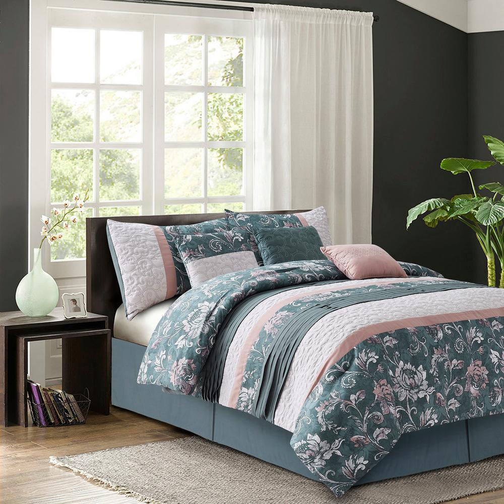 Harlow Blush 7-Piece Queen Comforter Set