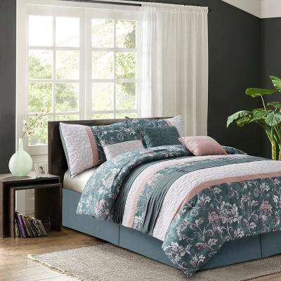 Harlow Blush 7-Piece Queen Comforter Set