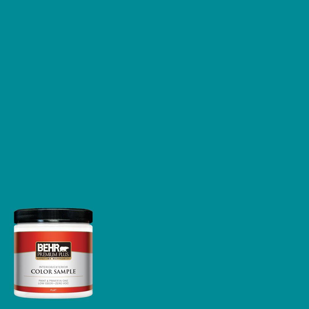 8 oz. #510B-7 Empress Teal Flat Zero VOC Interior/Exterior Paint and