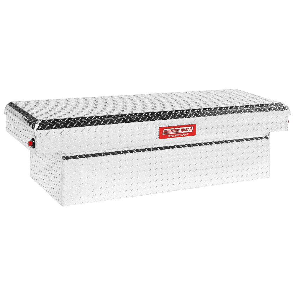 Weather Guard 61.88 Diamond Plate Aluminum Low Profile Crossbed Truck Tool Box