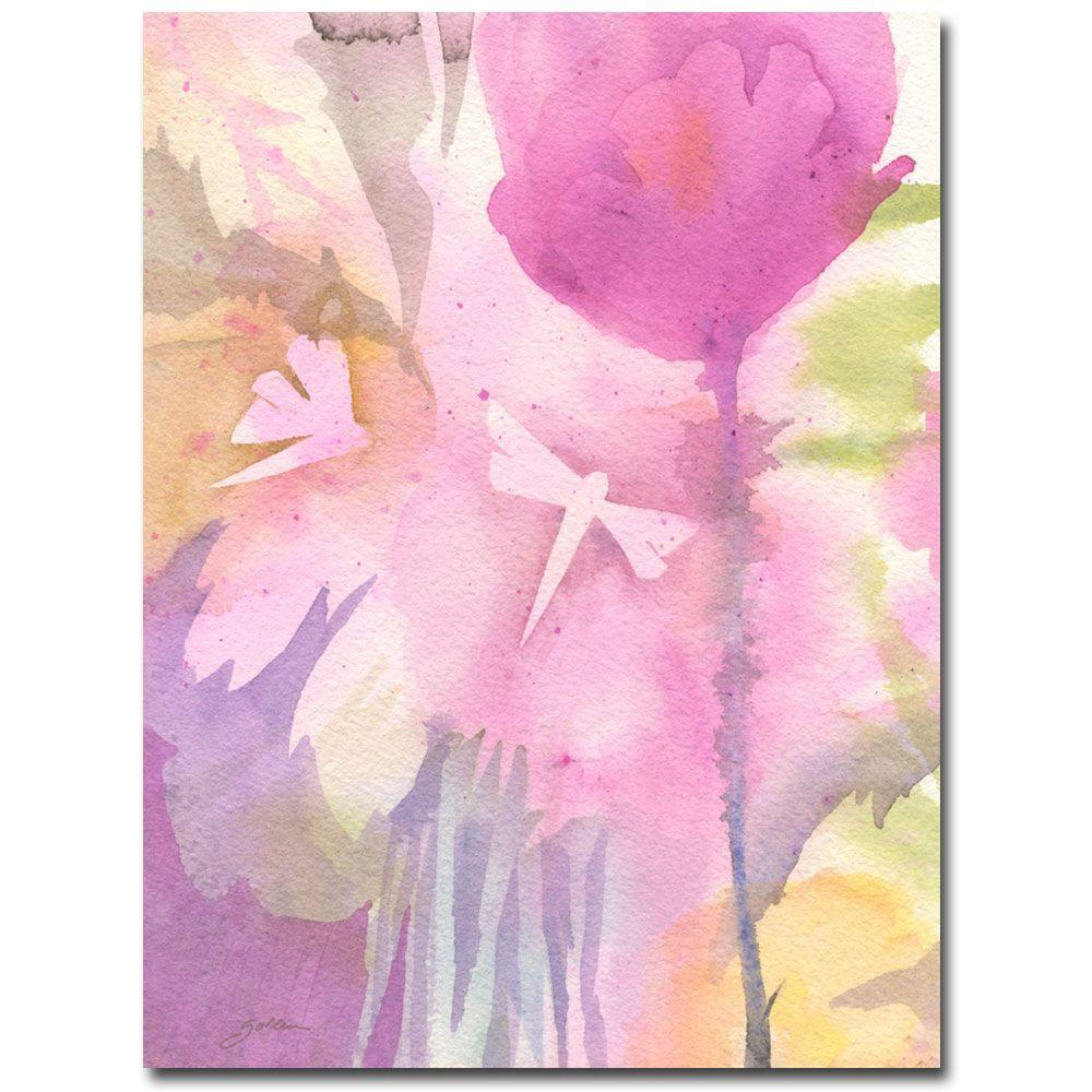 Trademark Fine Art 26 in. x 32 in. Dragonflies with Pink Canvas Art