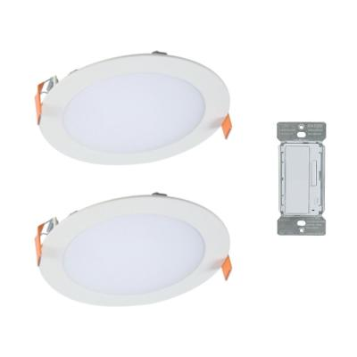 6 in. Color Selectable New Construction or Remodel Canless Recessed Integrated LED Kit(2-Pack) with In-Wall Smart Dimmer