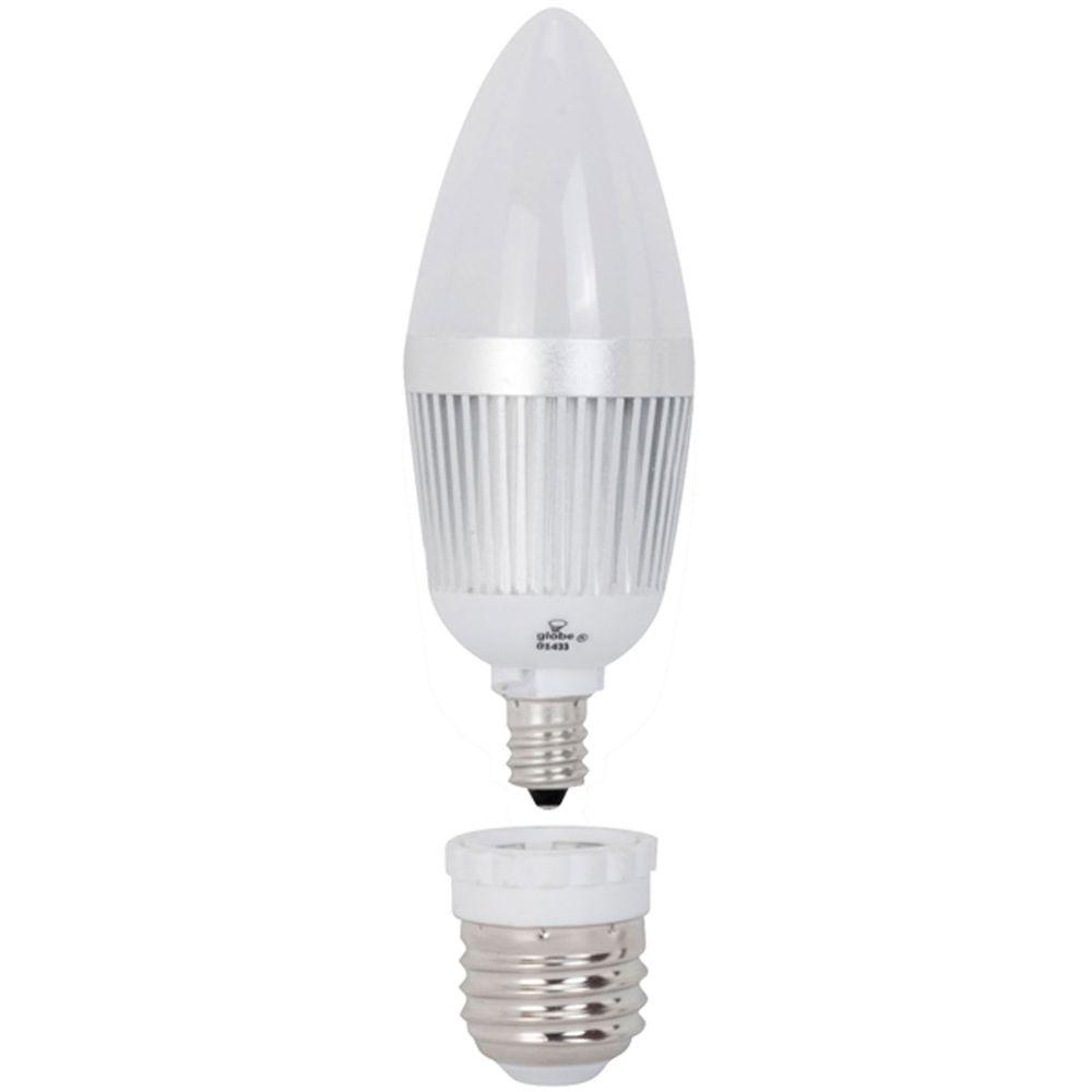 Globe Electric 25W Equivalent Daylight (5000K) B10 LED Chandelier Light Bulb with Medium Base Converter