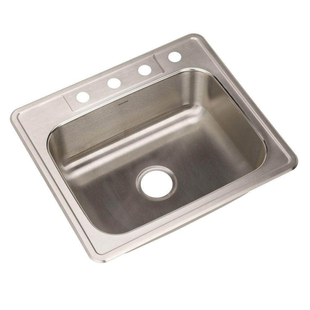 Nice HOUZER Glowtone Series Drop In Stainless Steel 25 In. 4 Hole Single Bowl