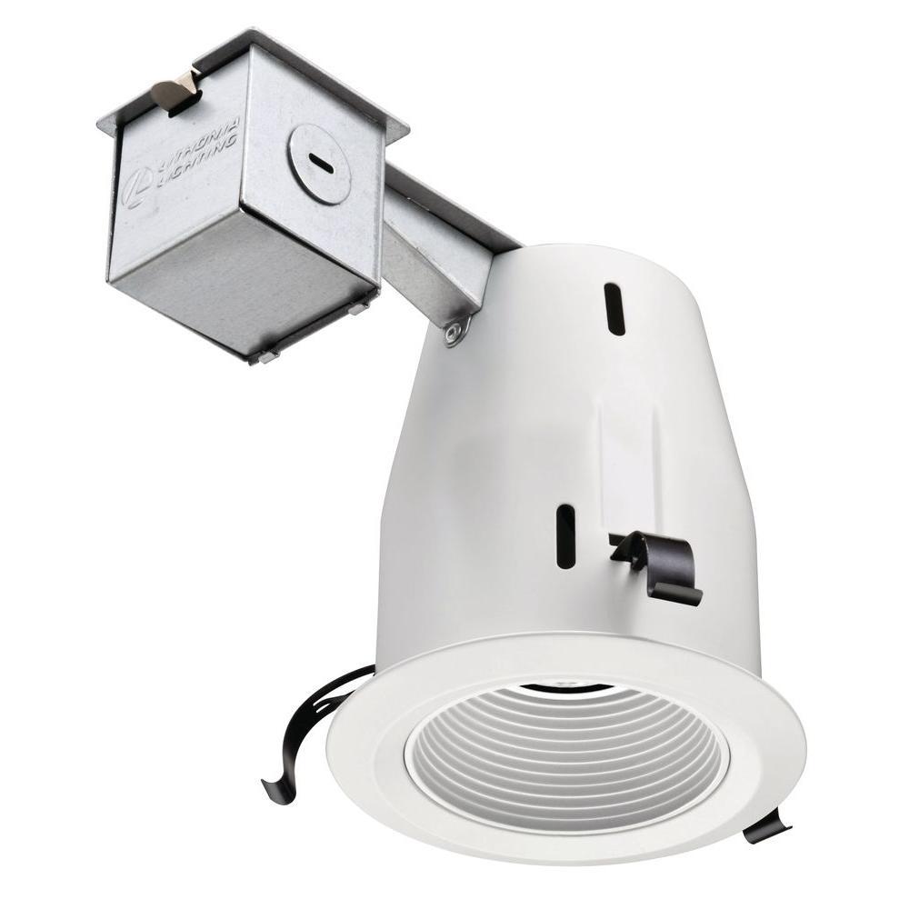 Lithonia Lighting 4 in. GU10 Matte White Baffle Recessed Kit-LK4BMW ...