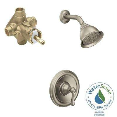 Kingsley 1-Handle 1-Spray Posi-Temp Shower Faucet with Moenflo XL Eco-Performance in Brushed Nickel (Valve Included)