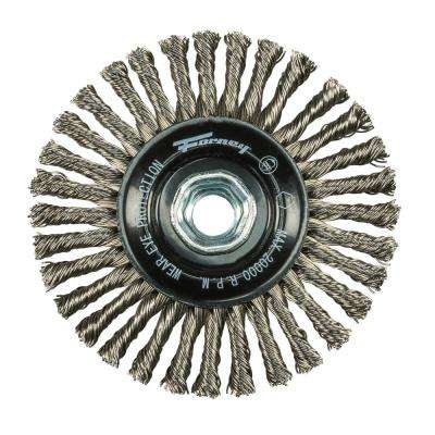 4 in. x 0.020 in. x 5/8 in. to 11 in. Stainless Stringer Wire Wheel Brush