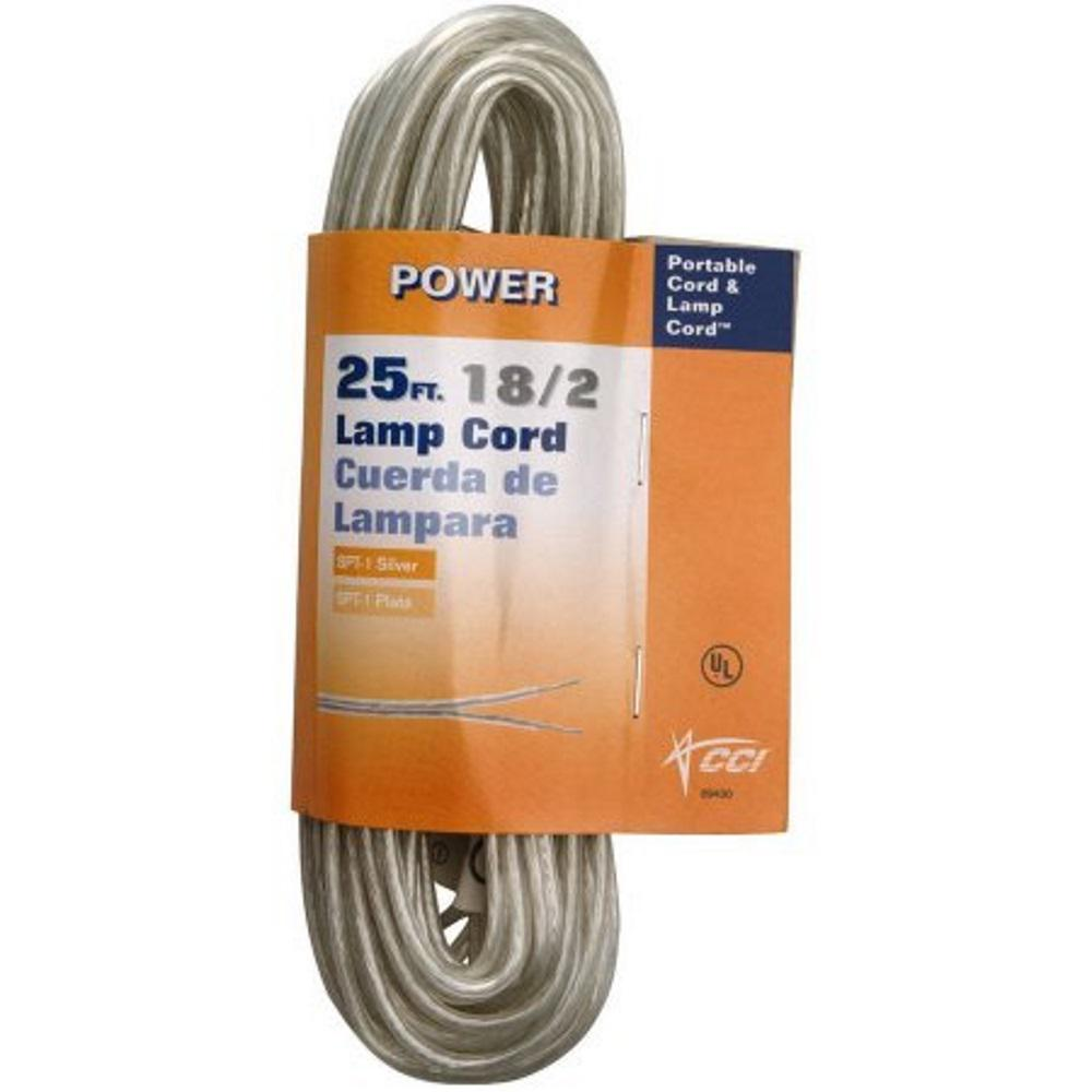 Southwire 25 ft. 18/2 Silver Stranded CU SPT-1 Lamp Wire