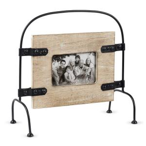 Rustic 4 inch x 6 inch Natural Wood and Distressed Black Metal Free Standing Picture Frame by