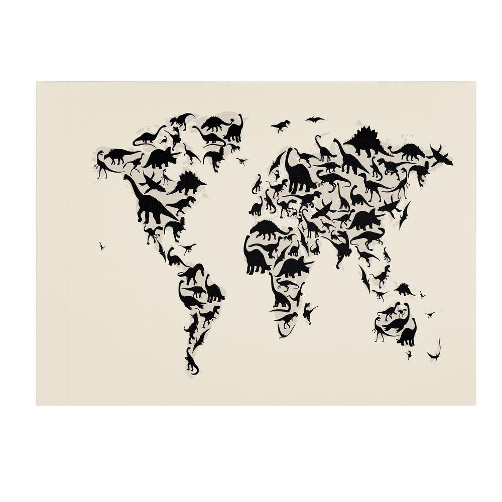 Trademark Fine Art 30 in. x 47 in. Dinosaur World Map Canvas Art
