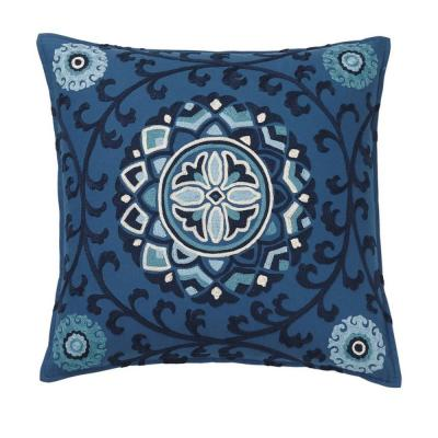 Embroidered Blue Suzani 18 in. x 18 in. Decorative Throw Pillow Cover