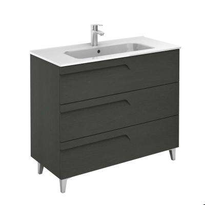Vitale 40 in. W x 18 in. D 3-Drawers Vanity in Grey Nature with White Basin