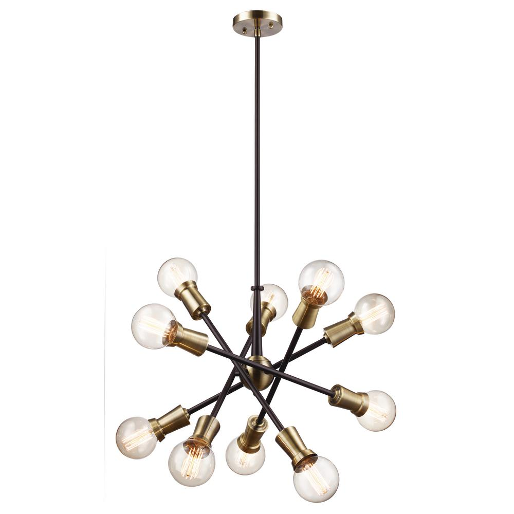 Zody 10-Light Rubbed Oil Bronze and Antique Brass Pendant
