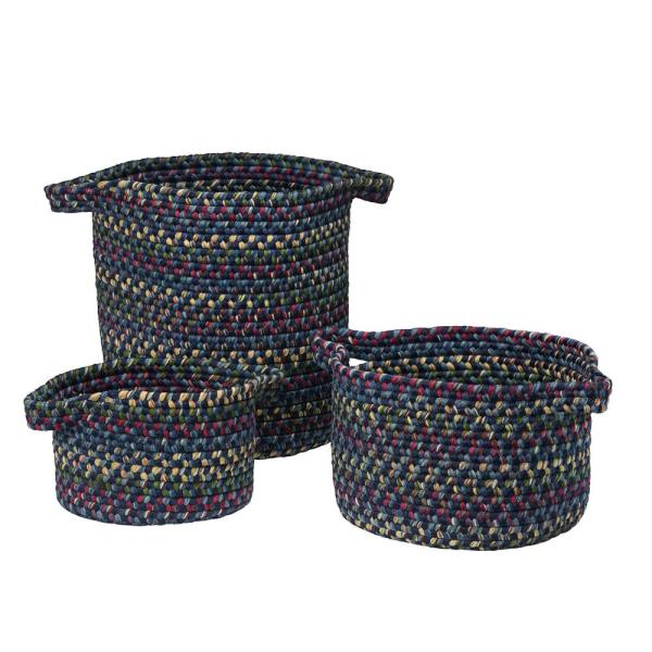Colonial Mills Vintage Farmhouse Round Polypropylene Basket Midnight (Set of 3)