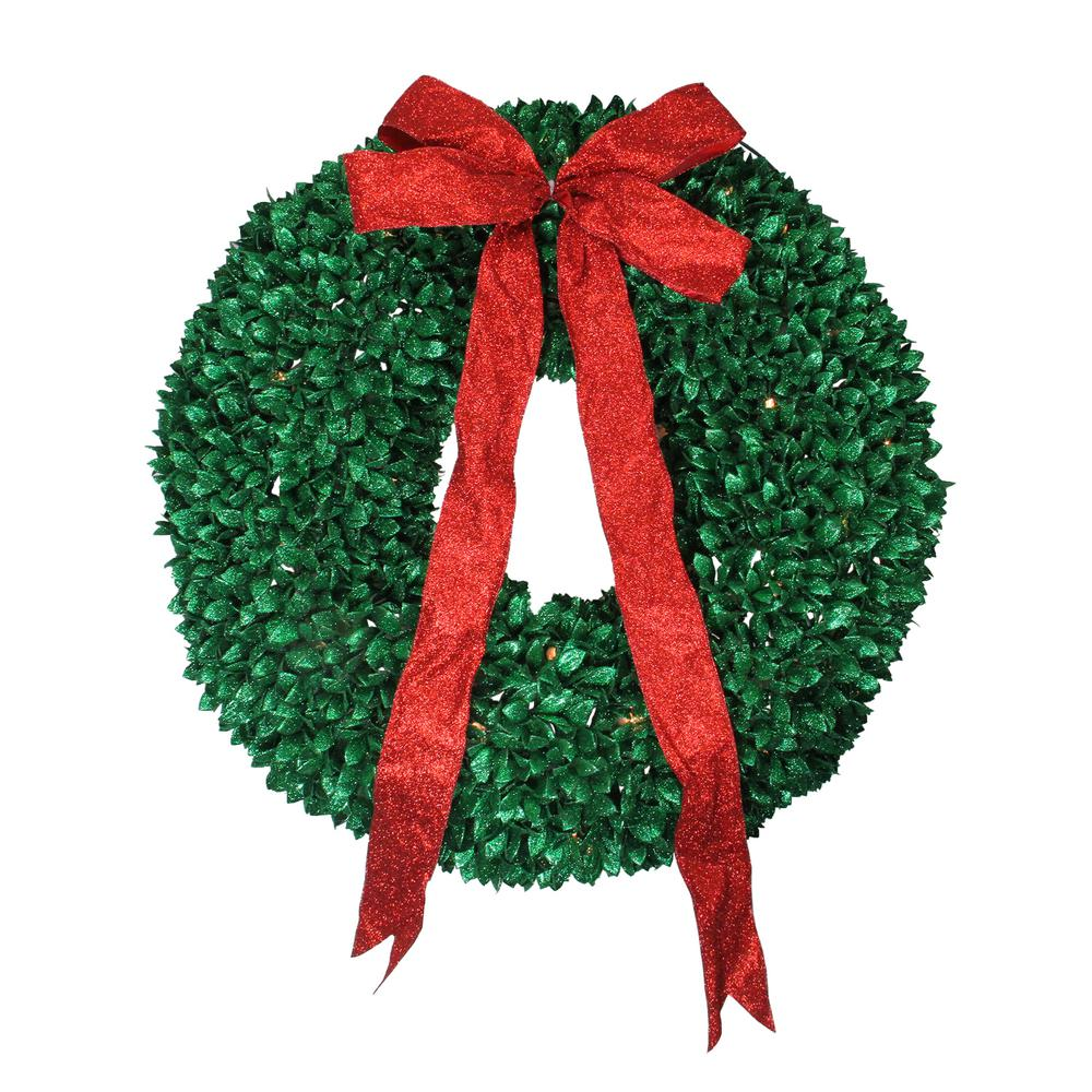 Pre-Lit Glittered Artificial Leaves Christmas Wreath with Clear Lights