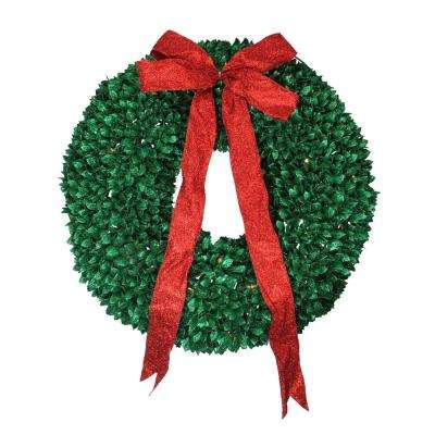 28 in. Pre-Lit Glittered Artificial Leaves Christmas Wreath with Clear Lights