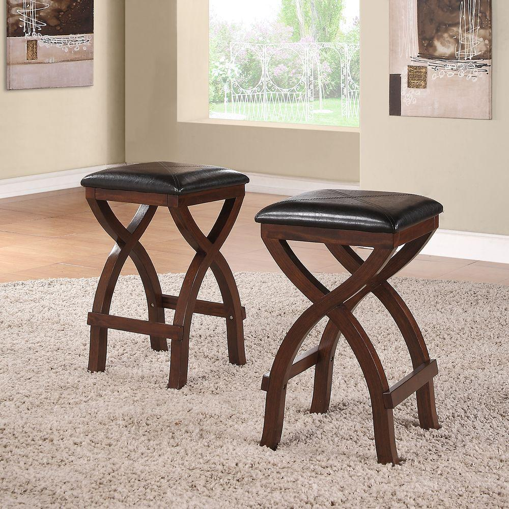 tarantino 24 in espresso cushioned bar stool set of 2