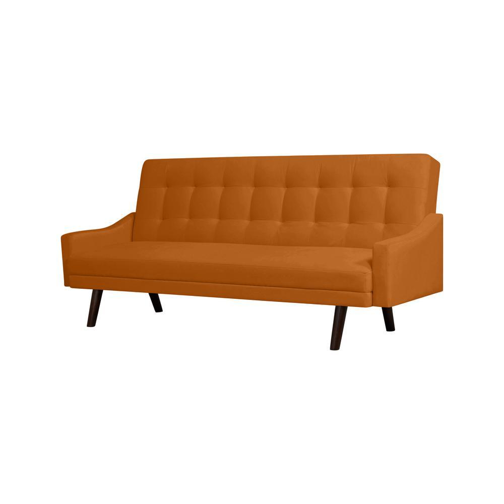 Handy Living Oakland Mustard Gold Velvet Click Clack Futon Sofa Bed Cc2 S3a2 Vbf24 The Home Depot