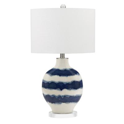 31.5 in. White and Blue Coastal Ombre Striped Ceramic Table Lamp and LED Bulb