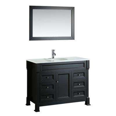 Bosconi 43 in. Single Vanity in Black with Vanity Top in White in White with White Basin and Mirror
