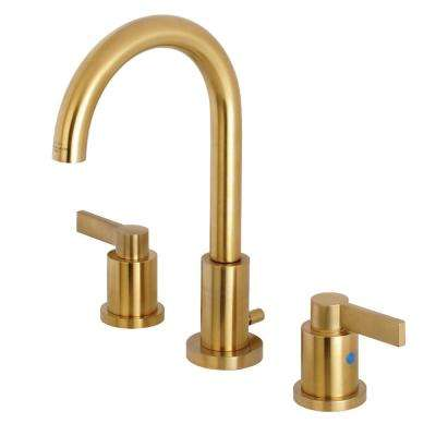 Nuvo 8 in. Widespread 2-Handle High-Arc Bathroom Faucet in Satin Brass