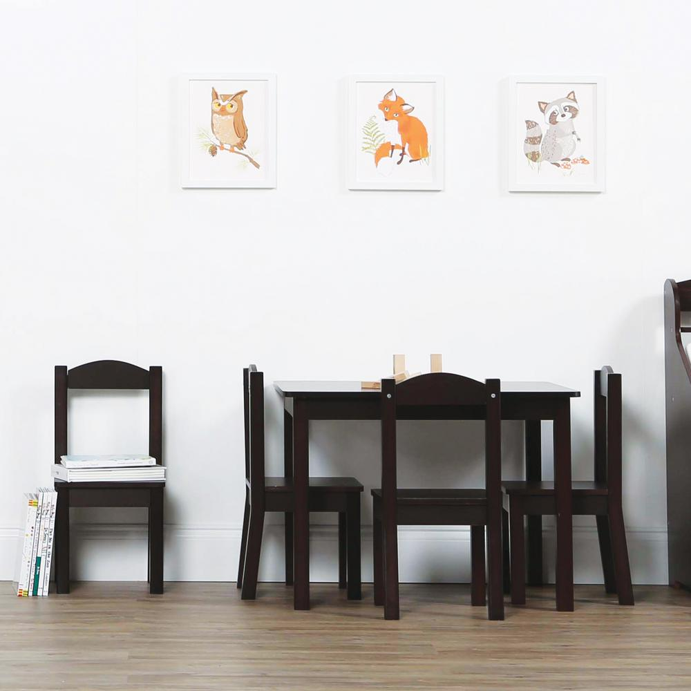 Tot Tutors Espresso Collection 5-Piece Espresso Table and Chair Set : kids table and chairs set espresso - pezcame.com