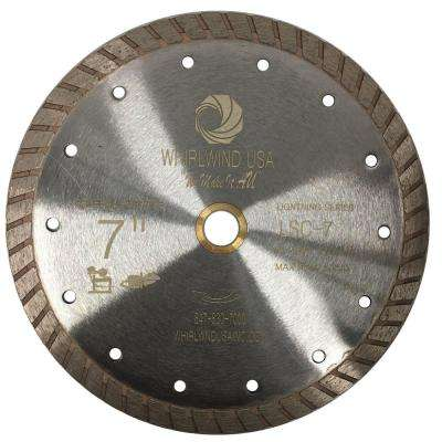 7 in. Turbo Rim Diamond Blade for Dry or Wet Cutting Concrete, Stone, Brick and Masonry