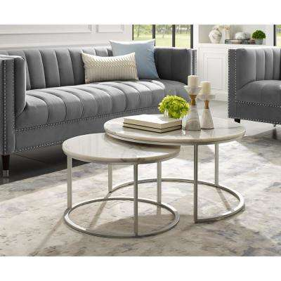 Marley Silver Coffee Table with Natural Marble Top