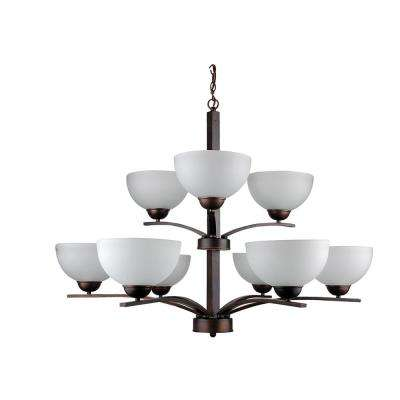 9-Light Coffee Chandelier with Etched Acid Wash Glass Shade