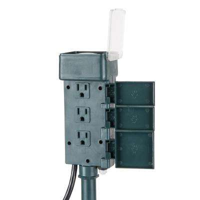 15 Amp Outdoor Mechanical 6-Grounded Outlet Plug-In Holiday Decor Stake Timer