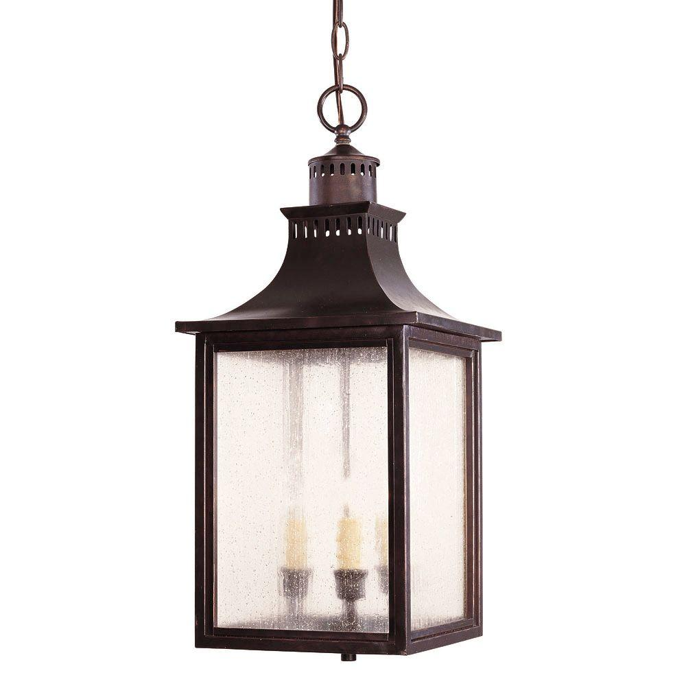 Illumine 3-Light Outdoor Hanging English Bronze Lantern with Pale Cream Seeded Glass