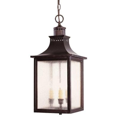 3-Light Outdoor Hanging English Bronze Lantern with Pale Cream Seeded Glass