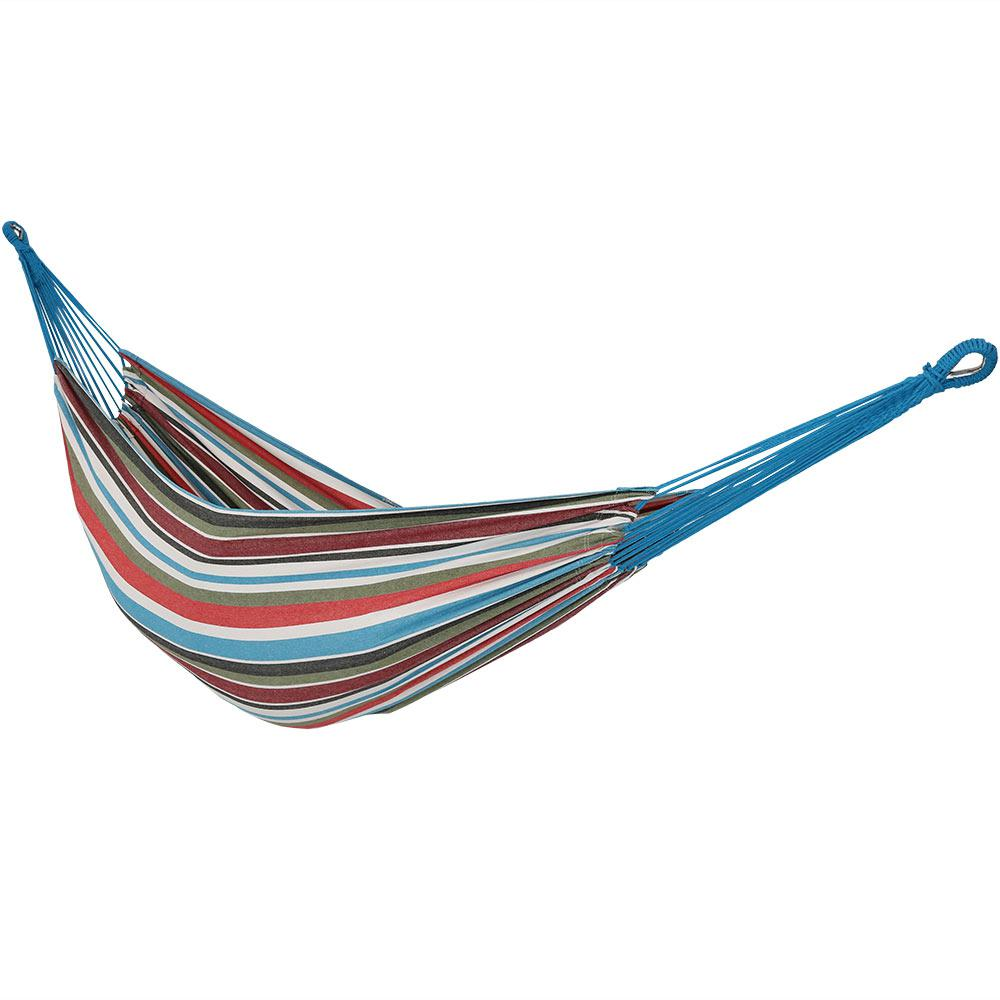 10.5 ft. Fabric Cotton Double Brazilian Hammock in Cool Breeze