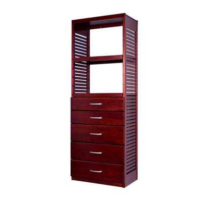 16 in. Deep Deluxe Tower Kit with 5 Drawers (6 in. and 8 in. Deep) Red Mahogany