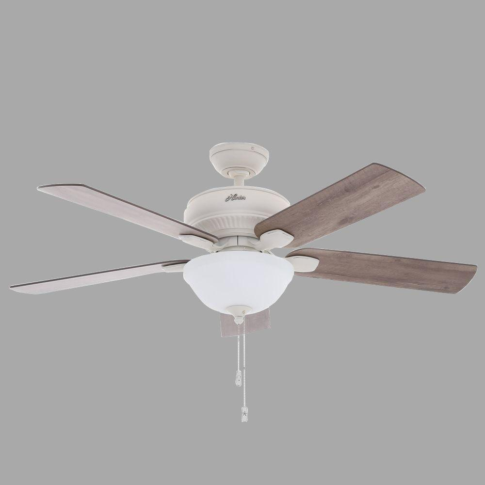 Hunter White Fan Part - 34: Hunter Matheston 52 In. Indoor/Outdoor Cottage White Ceiling Fan With Light  Kit